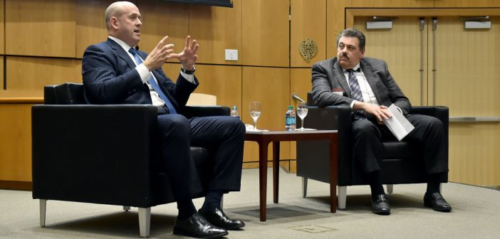 L-R) Harvey M. Schwartz, president and co-chief operating officer of Goldman Sachs, discusses the key to career success, with Joseph Mazzella, GABELLI '82