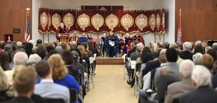 Fordham celebrates longest-serving employees at the 2018 Convocation.