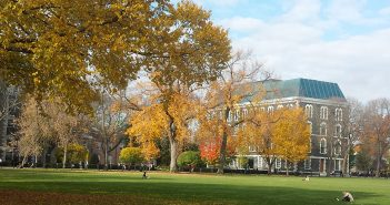Edwards Parade in the fall, with Hughes Hall in the background