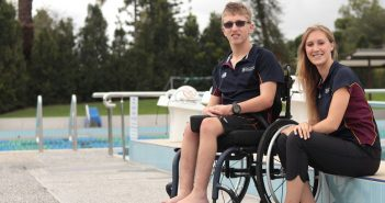 Para START athlete Nathaniel Woolgar, left, with Turner Block at the University of Queensland.