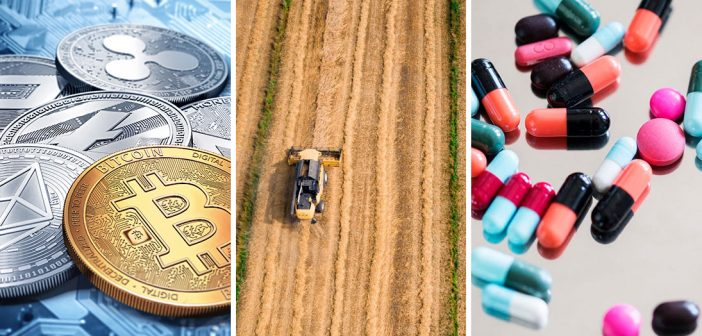 Collage of a cryptocurrency rendering, a tractor in a field, and medication