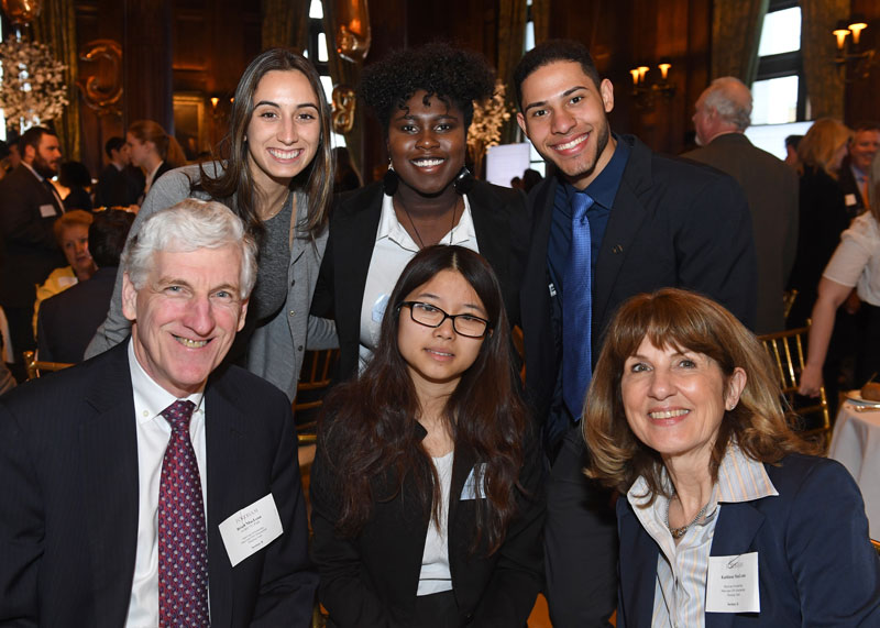 Scholarship benefactors Brian W. MacLean, FCRH'75 and Kathy MacLean, FCRH '75, with Fordham Housing Fund recipients.