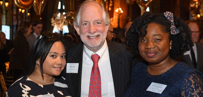 (L-R) Miller Scholar Frairee De La Fuente; Henry Miller, FCRH '68, benefactor of the Henry S. Miller Endowed Fellowship for International Education; and Miller Scholar Shenika Christopher.