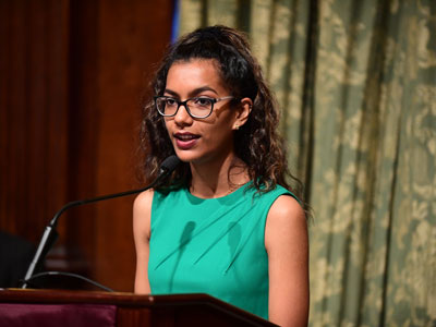 Arielle Murray, a first-generation college student and this year's student speaker, spoke about how receiving the E. Gerald Corrigan Endowed Scholarship impacted her.