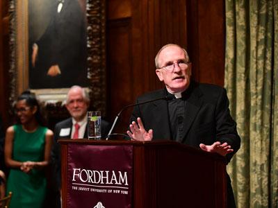 Joseph M. McShane, S.J., president of Fordham, expressed gratitude to scholarship benefactors.