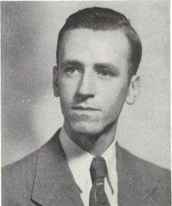 Curran's portrait from the 1947 edition of Fordham's Yearbook, Maroon