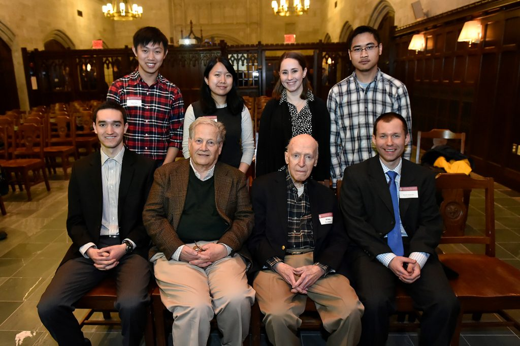 Back row, left to right: Ruiju Wang, FCRH '15; Katherine Lee, FCLC '16), Lauren Vogelstein (FCLC '13), John Wu (FCLC '14). Front row, left to right: Jeremy Fague (FCRH '16), Frank Connolly (Fordham 1961), Peter Curran (Fordham faculty, retired), David Swinarski (Fordham faculty)