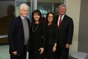 (L-R) Mario Gabelli, GSB '65; Regina Pitaro, FCRH '76; Donna Rapaccioli, Ph.D., dean of the Gabelli School of Business; and Brian C. Rogers, non-executive chairman of T. Rowe Price.