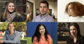 A composite image of six Fordham scholarship recipients