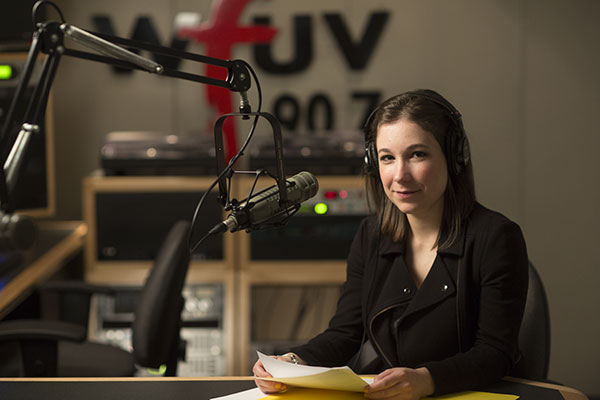 Fordham student Erica Scalise in the WFUV studios
