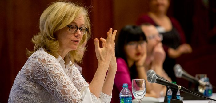 Fordham English professor Mary Bly, aka bestselling romance novelist Eloisa James, leads a panel discussion on how to break into the publishing industry.