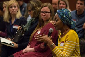 An audience member asks a question during the career-networking panel discussion on the publishing industry.