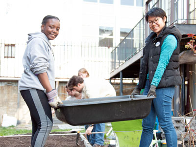 In celebration of Earth Day, students helped with the upkeep of St. Rose's Garden.