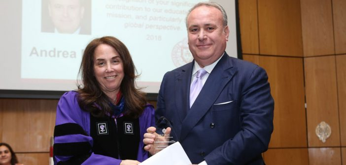 (L-R) International Awareness Award recipient Andrea Mennillo, with Donna Rapaccioli, Ph.D., dean of the Gabelli School.