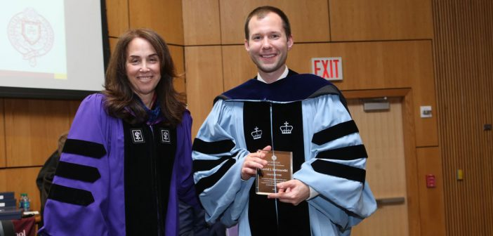 (L-R) Donna Rapaccioli, Ph.D., dean of the Gabelli School, with mathematics professor David Swinarski, Ph.D., recipient of the Gratias Tibi Award
