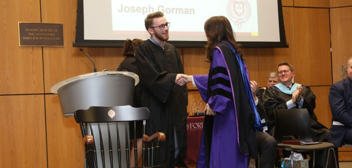 Alumni Chair Award recipient Joseph Gorman greets Donna Rapaccioli, Ph.D., dean of the Gabelli School.
