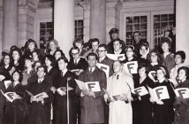 Fordham students from the City Hall Division at 302 Broadway are shown singing at New York City Hall to celebrate Christmas in 1965.