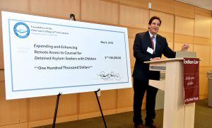 Matthew Diller, Dean of Fordham School of Law, lauded the Feerick Center and the American College of Trial Lawyers at the check presentation ceremony.