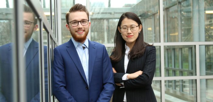 "Joe Gorman, GABELLI '18, and Yongbo ""Becca"" Hu, GABELLI '18"