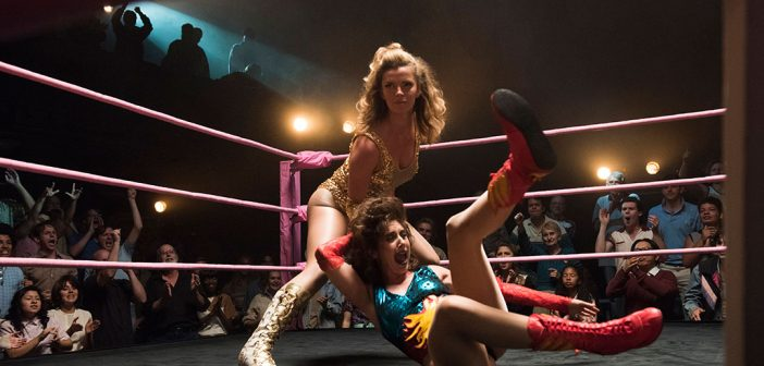 Betty Gilpin and Alison Brie in the first season of GLOW.