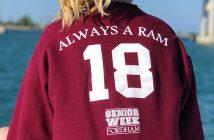 "Fordham senior wearing a Fordham Class of 2018 Senior Week shirt that reads: ""Always a Ram"""