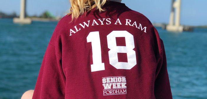 "Fordham senior wearing a Fordham Class of 2018 Senior Week shirt that reads: ""Always a Ram"""