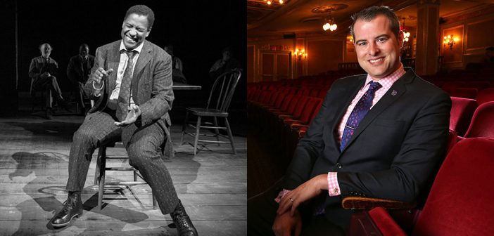 "A composite image showing actor Denzel Washington (left) in ""The Iceman Cometh"" and Broadway producer John Johnson (right) sitting in a theater."