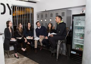 Students from the Gabelli School of Business and Fordham School of Law meet withwith Coss Marte, founder of Con Body