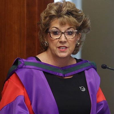 H.E. Geraldine Byrne Nason, Permanent Representative of Ireland to the United Nations, in purple robe