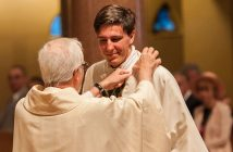 David C. Paternostro, S.J., is shown being vested at his ordination on June 9.