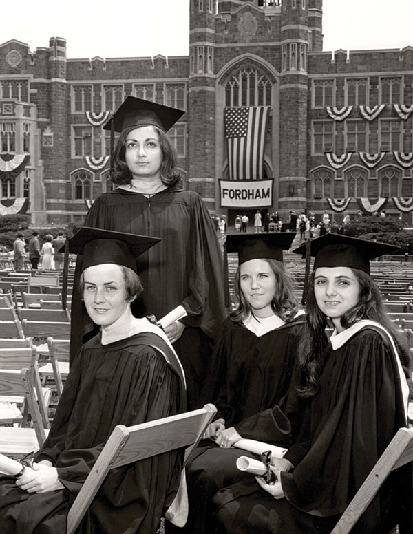 Commencement 1968 (from left): Mary Ellen Ross, Joanne Grossi, Cheryl Palmer, and Susan Barrera. (Photo by Conrad Waldinger, courtesy of Fordham University Archives)