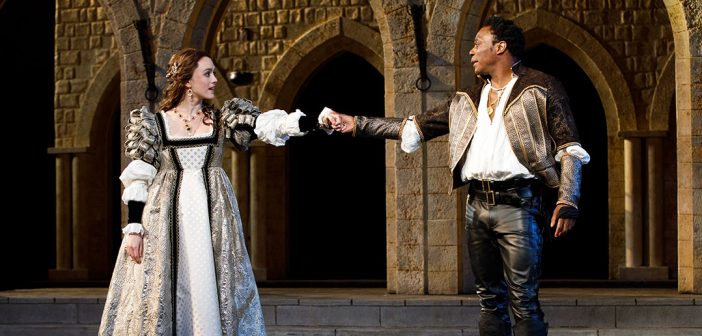 Heather Lind and Chukwudi Iwuji in Shakespeare in the Park's Othello, June 2018