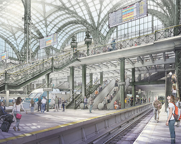 A rendering of the concourse of a rebuilt Penn Station, with widened platforms and additional escalators (Rendering by Jeff Stikeman for Rebuild Penn Station)