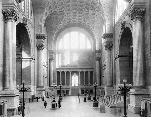 The main waiting room of the original Penn Station, c. 1911