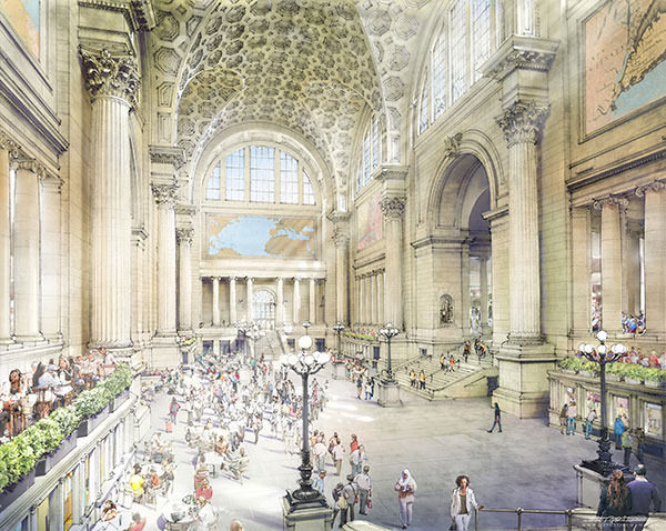 Rebuild Penn Station's vision for the rebuilt main hall (Rendering by Jeff Stikeman)