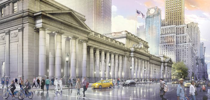 The proposed new version of Penn Station's majestic portico, stretching from 31st to 33rd street along Seventh Avenue (Rendering by Jeff Stikeman for Rebuild Penn Station)
