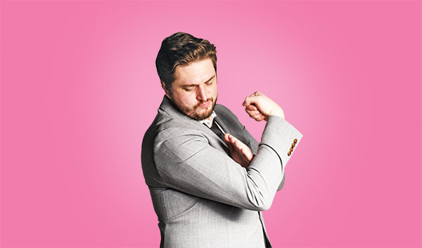 SNL writer and comedian (and Fordham graduate) Streeter Seidell flexes his muscle