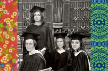 Colorful paisley patterns frame an image of four Thomas More College graduates, June 1968