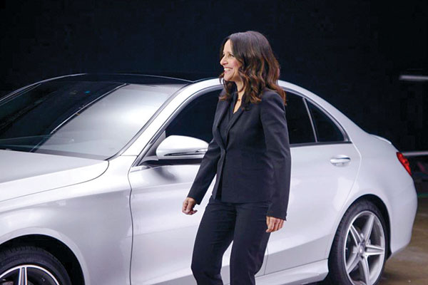 """A still image from the Saturday Night Live sketch """"New Mercedes"""""""