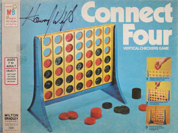 "The original packaging for Connect Four, the ""vertical checkers game,"" signed by the game's inventor, Howard Wexler. The name of the game was later changed to Connect 4. (Courtesy of Howard Wexler)"