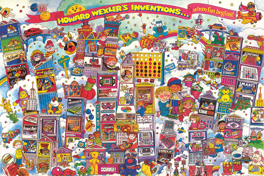 This late 1980s illustration depicts dozens of the toys and games Howard Wexler has invented and licensed. (Illustration by Adele Schnapp courtesy of Howard Wexler)