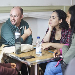 GSS students in conversation at Oxford House