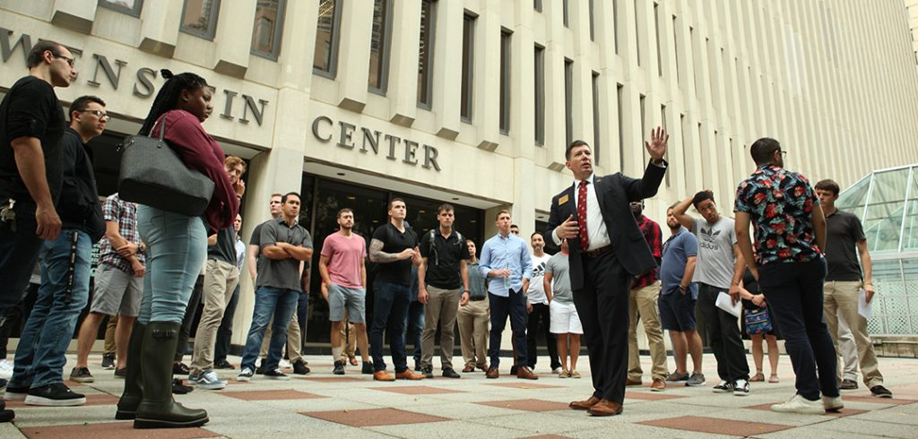 Military and Veteran Services director Matt Butler gives tour of the Lincoln Center campus.