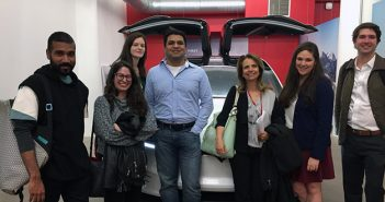 Shlomit Yanisky-Ravid and students at Tesla offices in New York City.