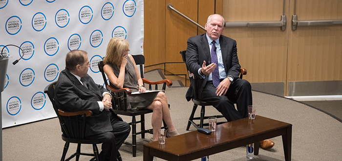 Jerold Nadler, Karen Greenberg and John Brennan sitting on a stage at the McNally Amphitheathre