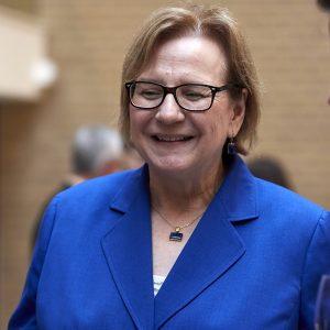 Christine Hinze, the evening's moderator