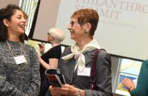 Two women share a conversation at the inaugural Women's Philanthropy Summit last year.
