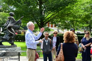 Former Fordham Law School Assistant Dean Robert J. Reilly leads a walking tour of the Rose Hill campus.