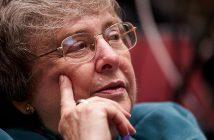 Sister Elizabeth Johnson, close up, at Dulles at 100