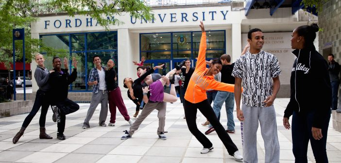 Ailey/Fordham B.F.A. in Dance program students strike a pose at the Lincoln Center campus.